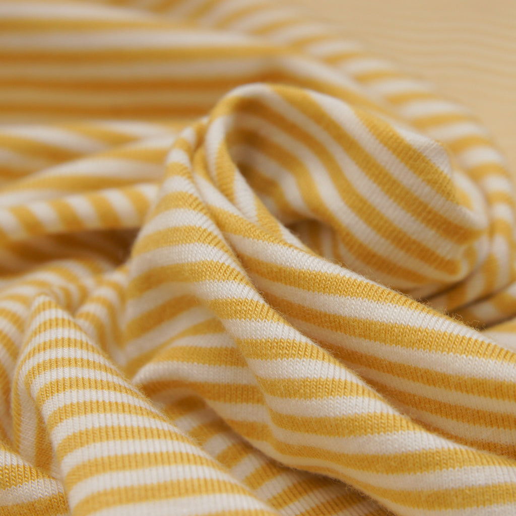 Bamboo Organic Cotton Spandex Jersey - Golden White 2mm Stripes - Knit - Earth Indigo