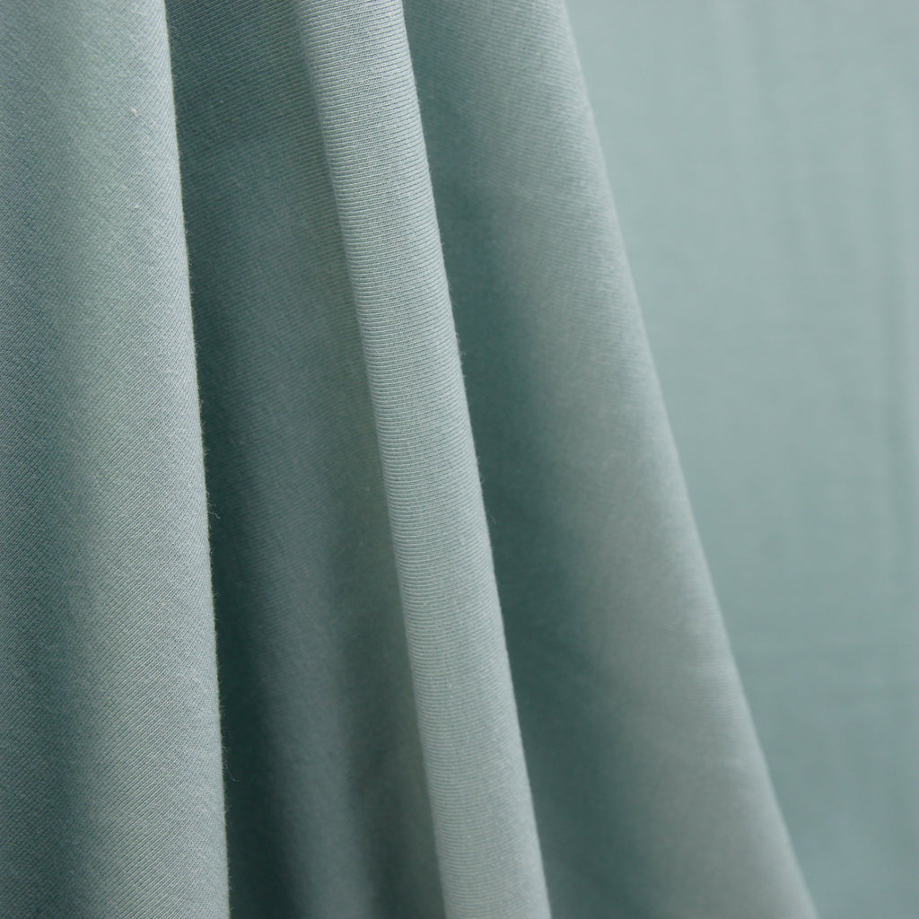 Tencel Organic Cotton Spandex French Terry Fabric - Green Mist - Knit - Earth Indigo