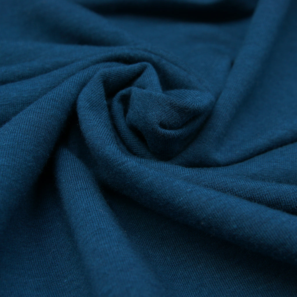 Tencel Organic Cotton Spandex French Terry Fabric - Moroccan Blue - Knit - Earth Indigo