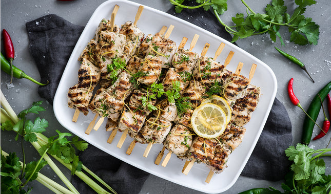 Grilled mini chicken skewers