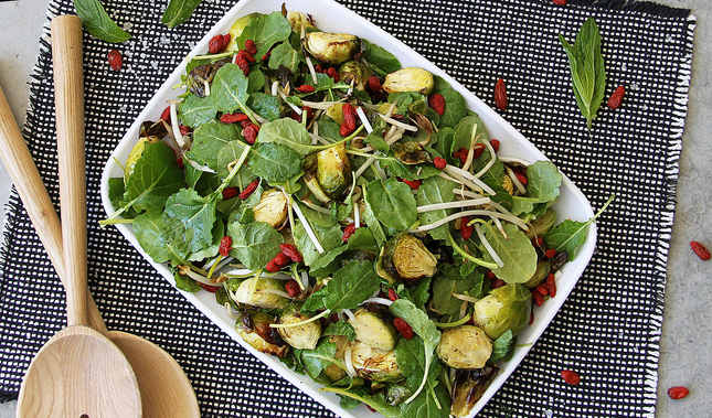 Charred Brussel Sprout & Baby Kale Salad