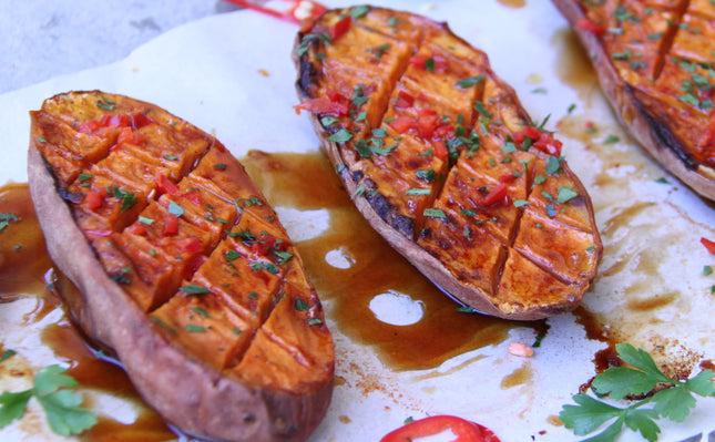 Honey Roasted Sweet Potato with Chilli & Lime