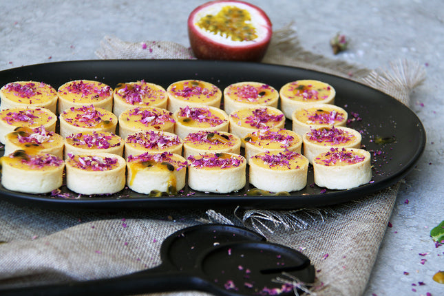 Passion Fruit & Rose Petal Tartlets