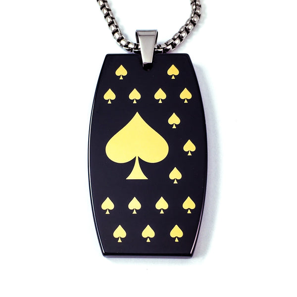 ace of spade ceramic pendant black hi-tech ceramic jewelry dog tag dog tags