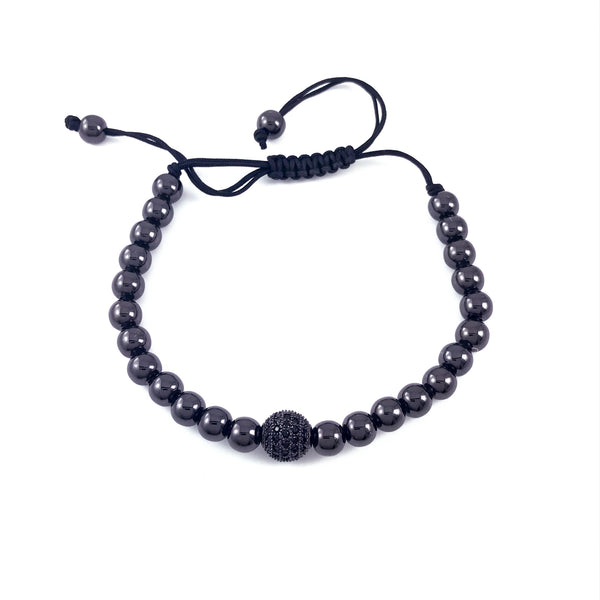 Black bead macrame bracelet with a black CZ pave encrusted ball