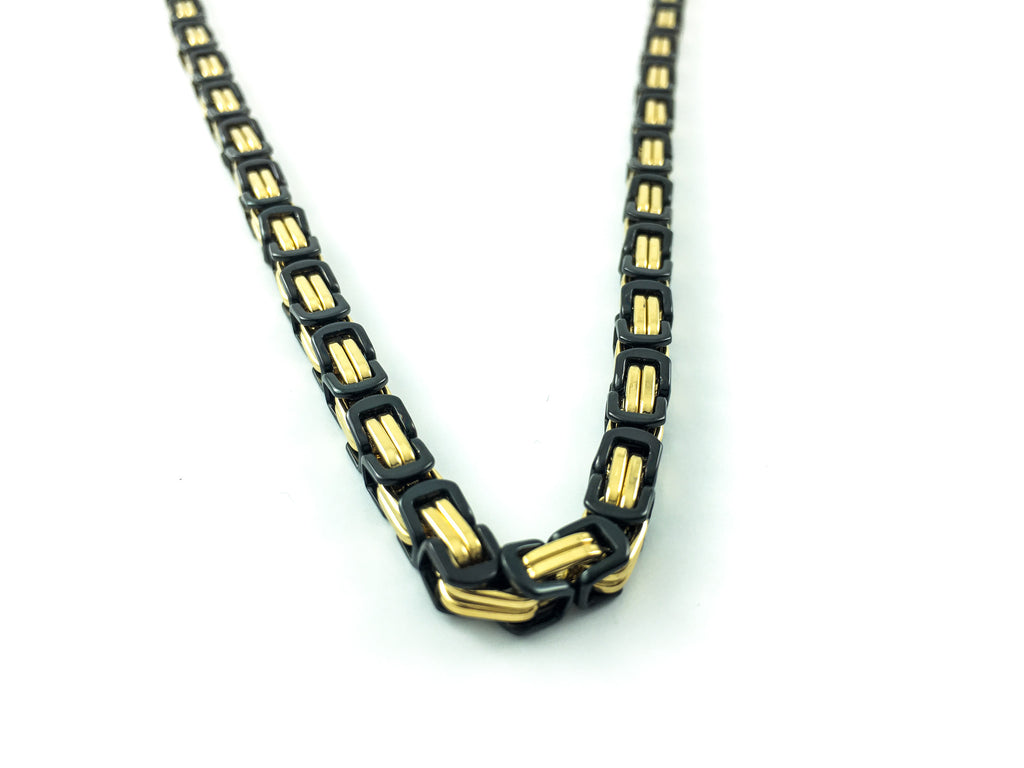 Black and Gold double-box byzantine stainless steel necklace for button-down shirt sleek look