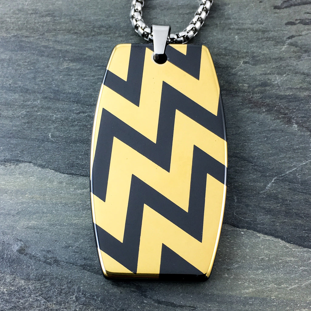 bold gold chevron patter black hi-tech ceramic dog tag pendant dog tags
