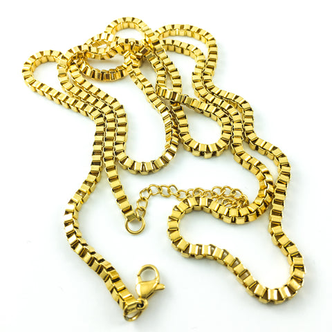 gold-plated stainless steel box chain long necklace