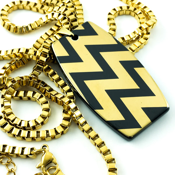 gold-plated stainless steel box chain long necklace with gold-plated chevron dog tag hi-tech ceramic pendant