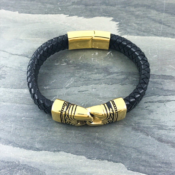 Gold Tribal Link Leather Bracelet