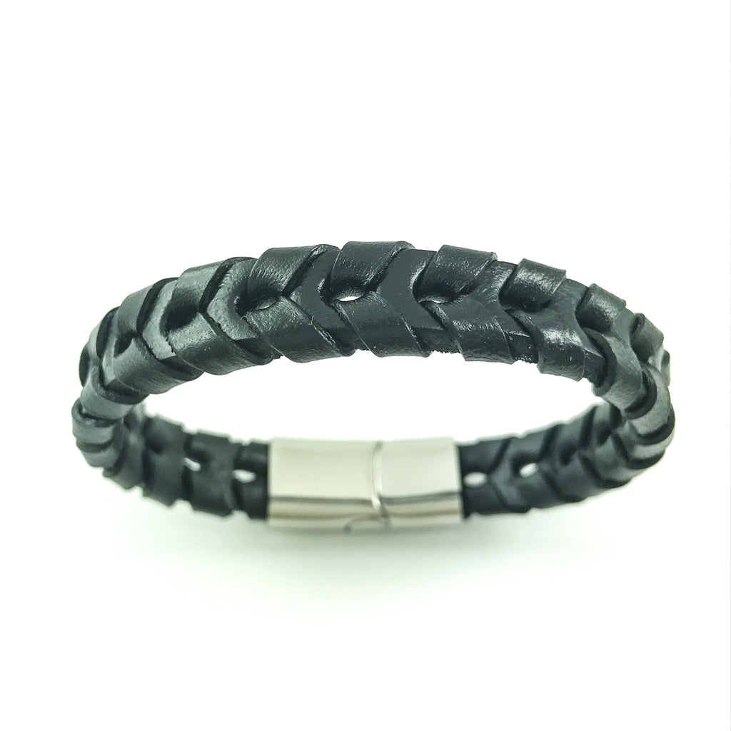 Black leather woven bracelet