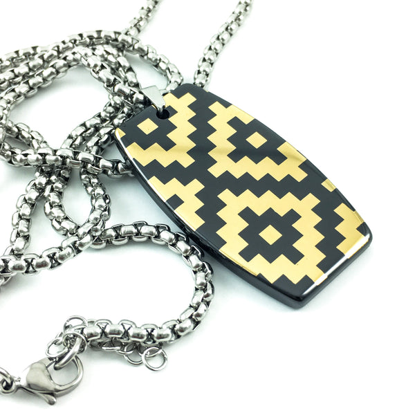 Mayan motif gold-plated black dog tag hi-tec ceramic pendant dog tags