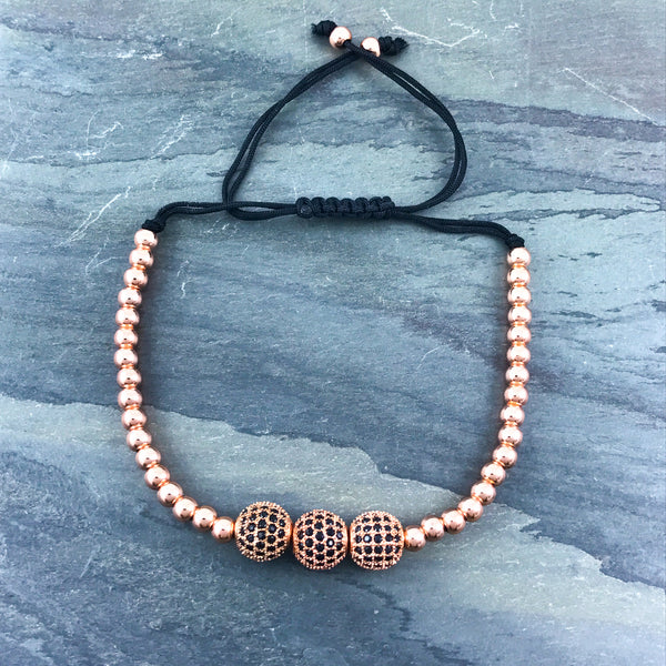 Rose gold bead macrame bracelet with 3 CZ pave encrusted balls
