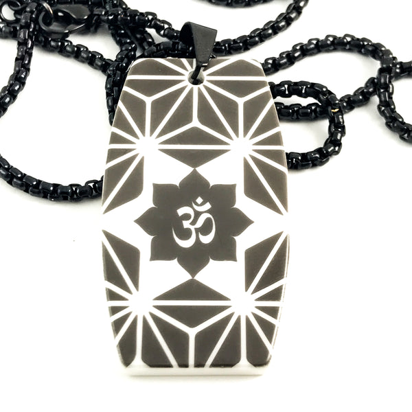 White high tech ceramic pendant with sacred geometry and om