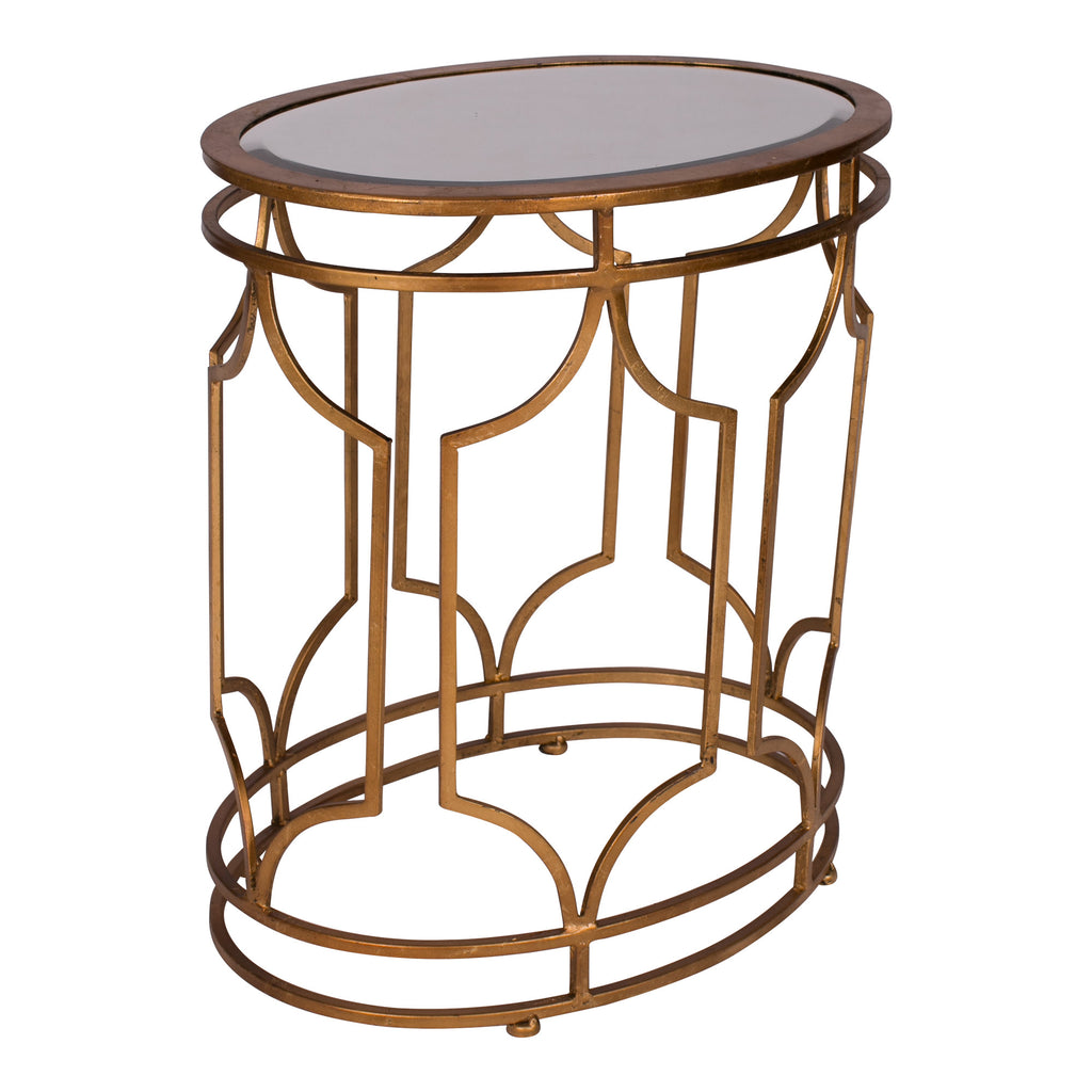 Gold & Mirror End Table