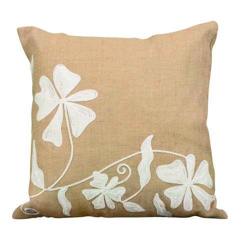 Coral & White Patterned Pillow