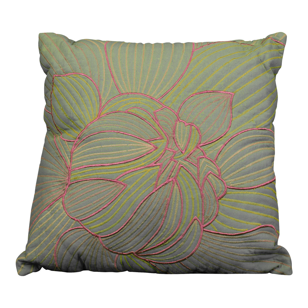 Green & Pink Floral Pillow