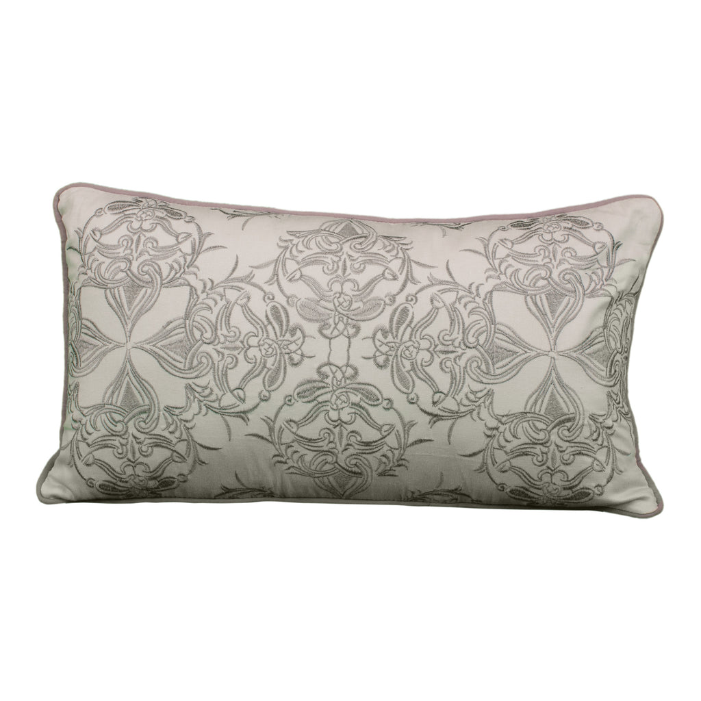 Gray Damask Lumbar Pillow