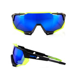 Speedtrap Polished Black/Matte Neon - Electric Blue Mirror