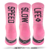Pacific and Co Socks - Reflective Speed Slow Life - Pink