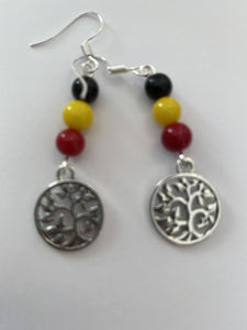 Round tree of life charm earrings