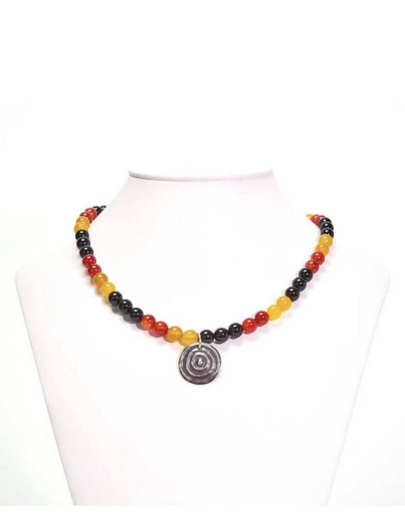 Sterling Silver and Red Black Yellow Agate beaded Necklace