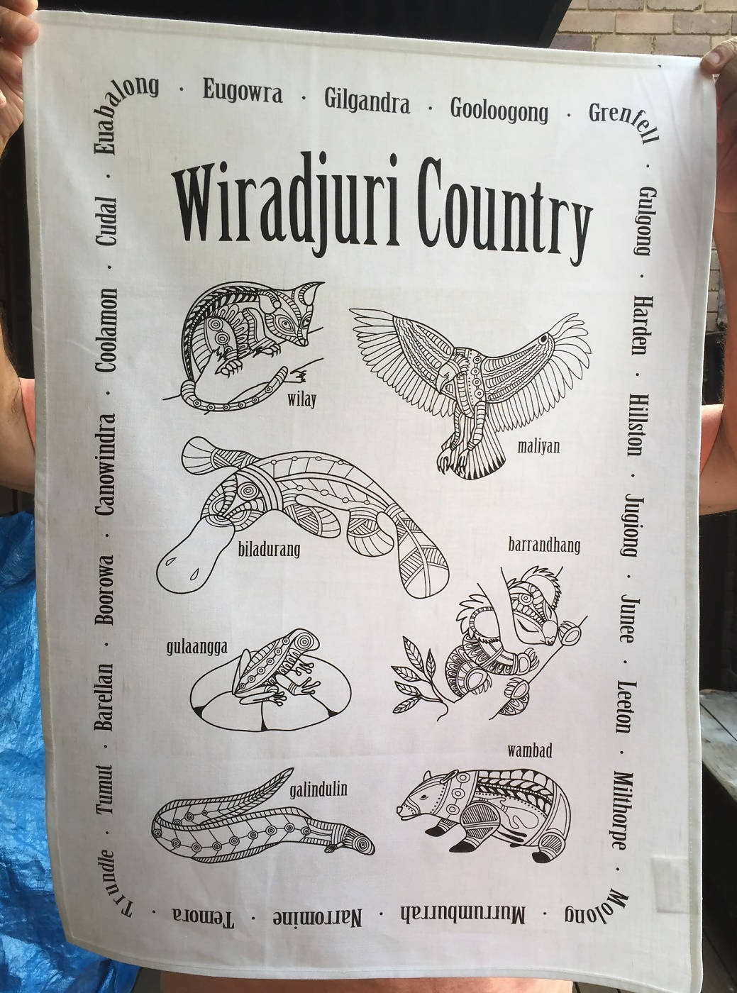Wiradjuri tea towel with small towns
