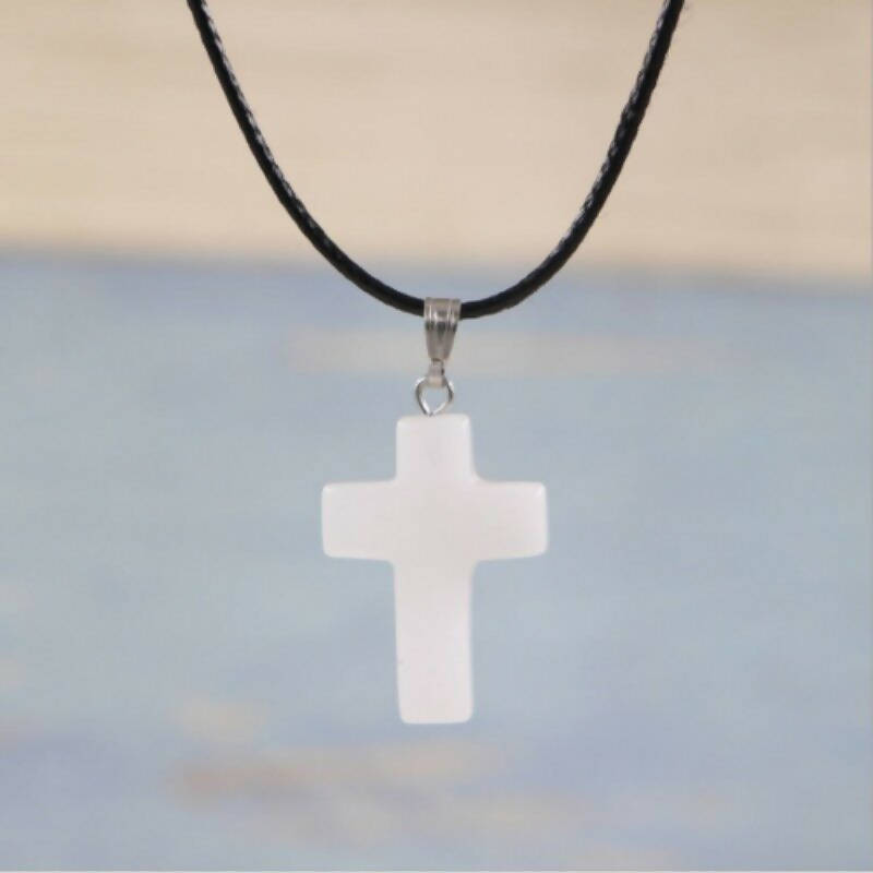 Opal Cross crystal necklace