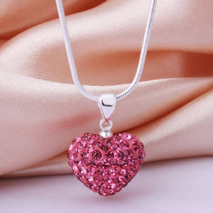 Silver Heart crystal necklace Pink