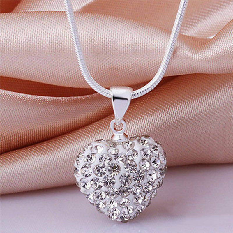 Silver Heart crystal necklace white