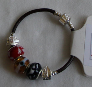 Pandora style leather bracelet 21mm