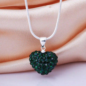 Silver Heart crystal necklace Dark green