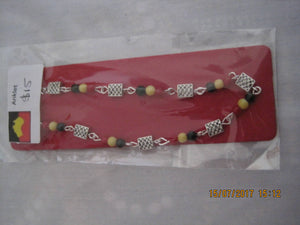 Anklet Tibetan Silver square 6mm beads