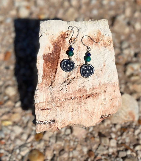 """Stars"" Miima, Giralang Sterling Silver and Chrysocolla Lapis Earrings"