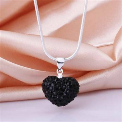 Silver Heart crystal necklace Black