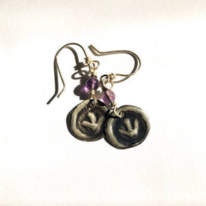 """Emu"" dinawan Sterling Silver Amethyst Earrings"