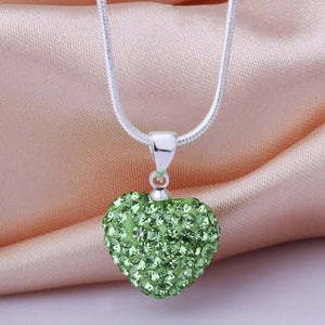 Silver Heart crystal necklace LIght green