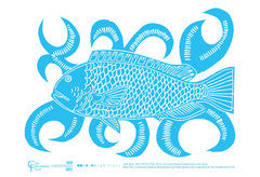 TEA TOWEL: Joel Sam 'Blue Parrot Fish'; Blak Flair