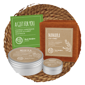 Medium Gift Bag - soothing body balm (40g) a large soaps/clays/scrubs and a lip balm