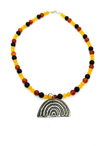 "Yulubirrngiin, gunhungurraan ""Rainbow"" Necklace Sterling SIlver Agate Necklace"