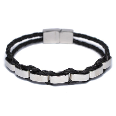 Braided Black Leather Stainless Steel Bracelet