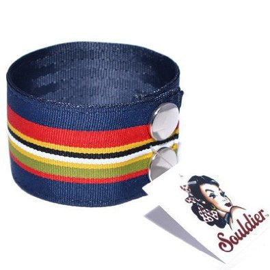 "Souldier Men's 8 7/8"" Providence Pattern Striped Guitar Strap Bracelet"