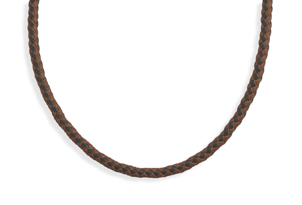 "Men's 21.5"" Braided Brown and Tan Leather Choker Necklace"