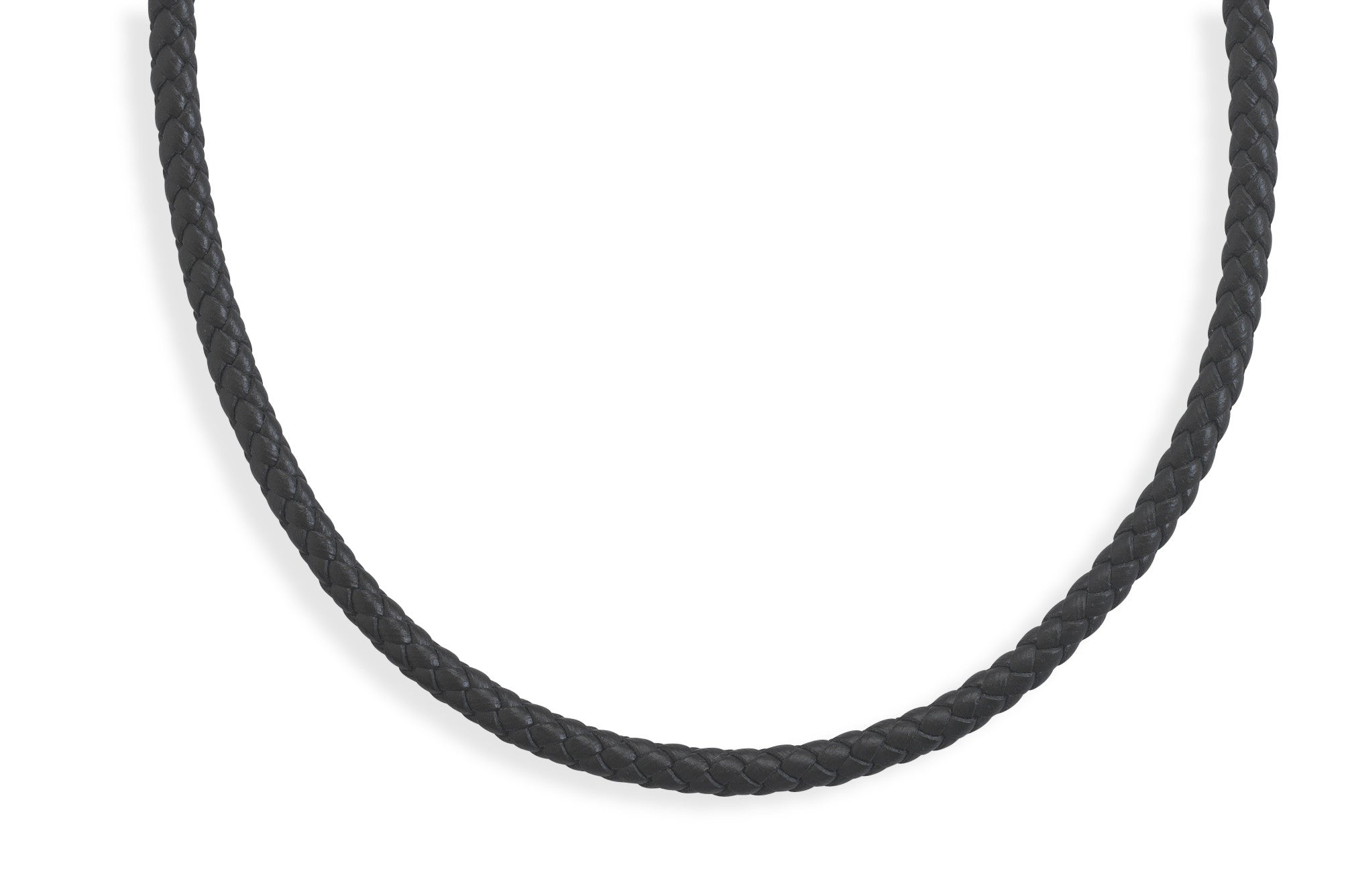 "Men's 20"" Braided Black Leather Choker Necklace"