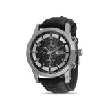 Men's Black Leather Chrono Watch