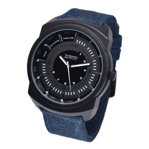 Men's Blue Cotton Strap Black Face Watch