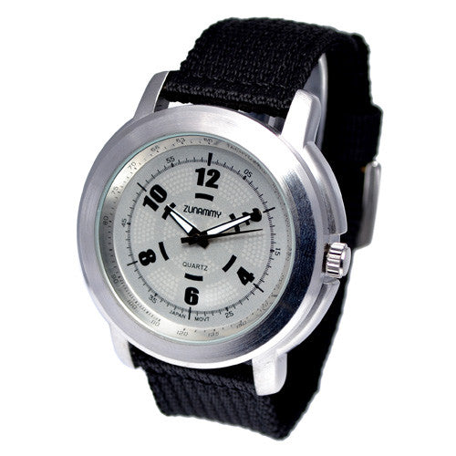 Men's Black Cotton Strap Silver Face Watch