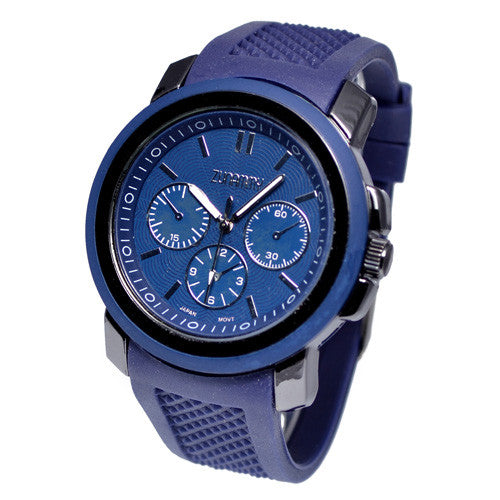 Blue Rubber Band Chronograph Style Watch
