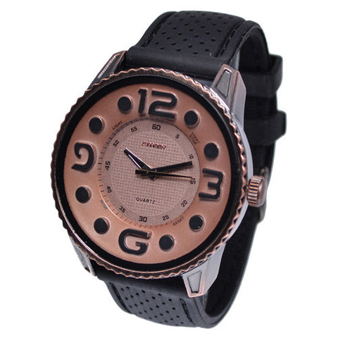 Black Rubber Band Large Number Watch for Men