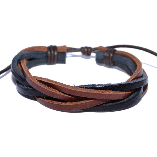 Men's Black and Brown Twisted Leather Bracelet